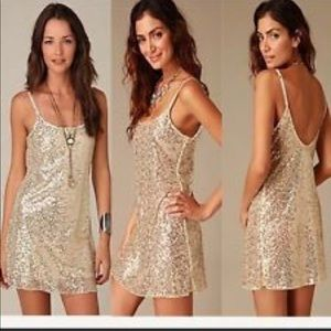 Intimately Free People gold sequin tank dress L